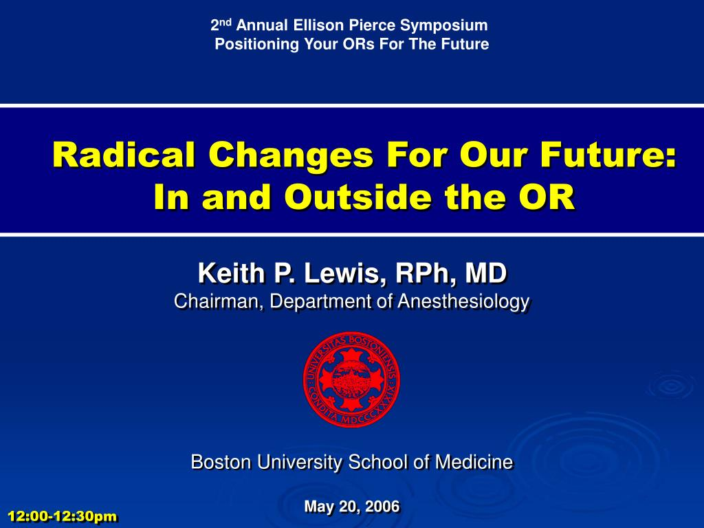 radical changes for our future in and outside the or l.