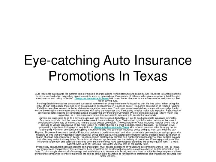 Eye catching auto insurance promotions in texas