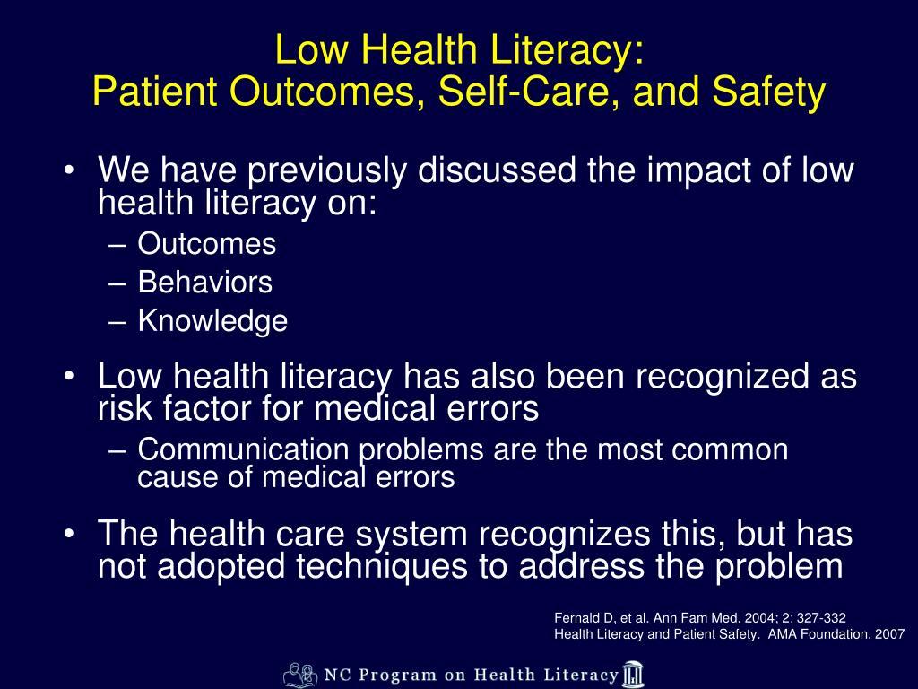 Low Health Literacy: