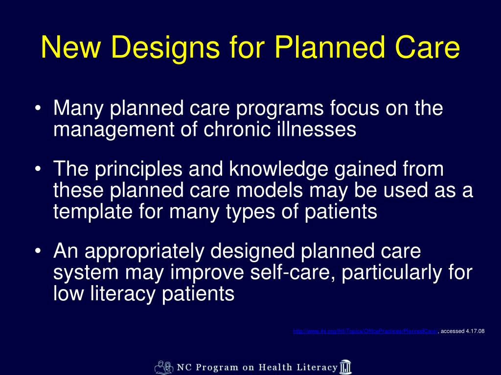 New Designs for Planned Care