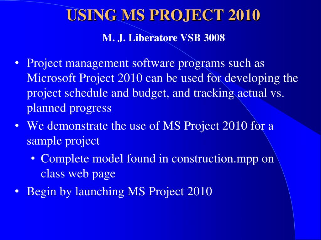 using ms project 2010 l.