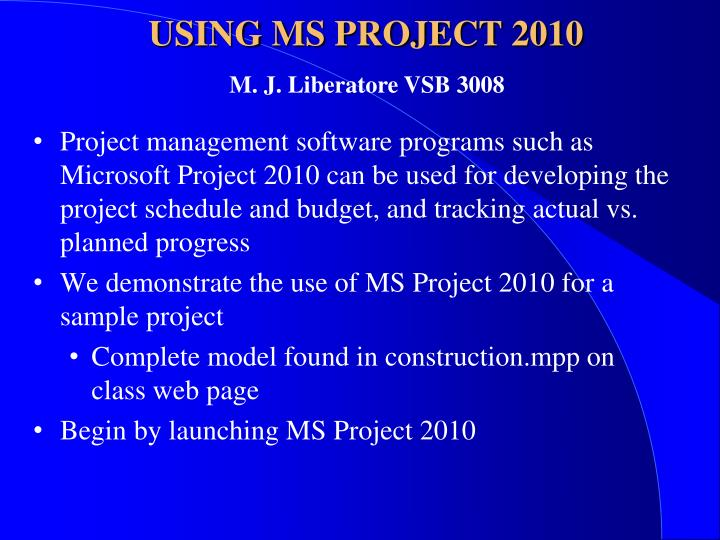 using ms project 2010 n.