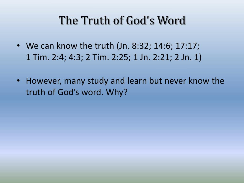 The Truth of God's Word