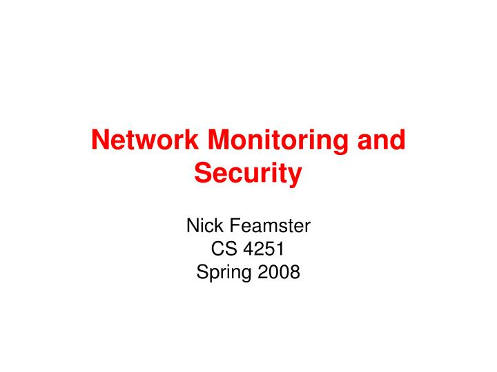 network monitoring and security n.