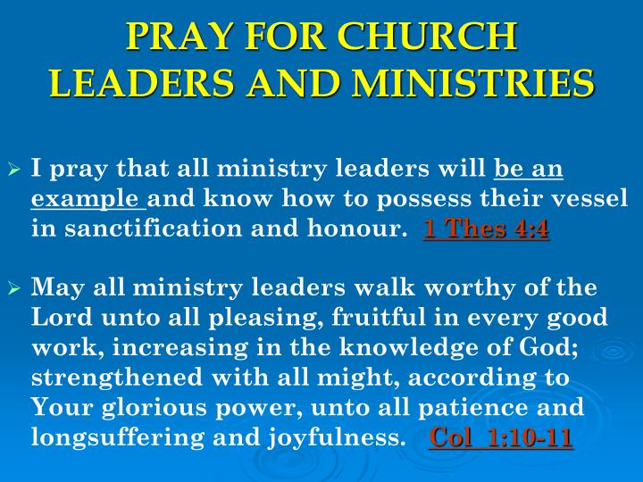 pray for church leaders and ministries n.