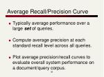 average recall precision curve