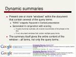 dynamic summaries
