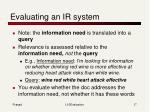 evaluating an ir system