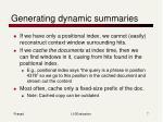 generating dynamic summaries