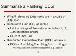 summarize a ranking dcg