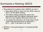 summarize a ranking ndcg