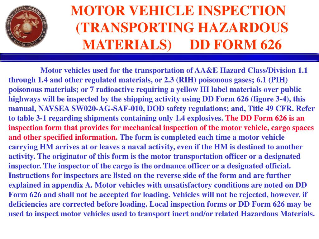 Who May Perform Dd Form 626 Vehicle Inspections Vehicle