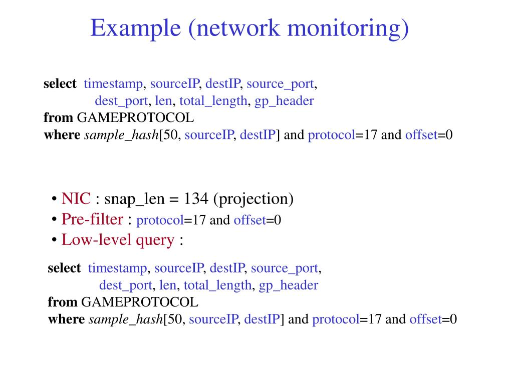 Example (network monitoring)