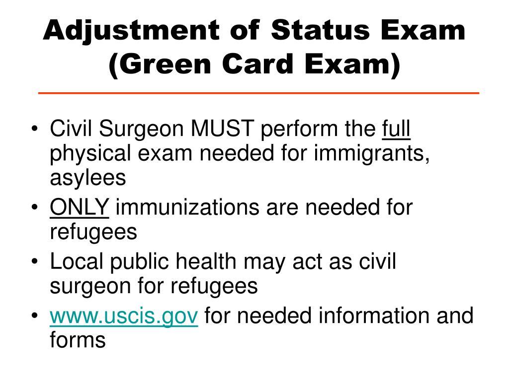 Adjustment of Status Exam (Green Card Exam)