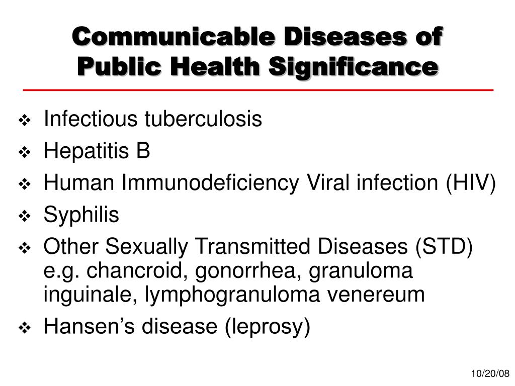 Communicable Diseases of Public Health Significance