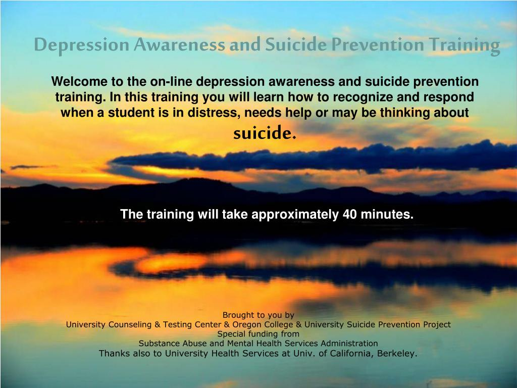 depression awareness and suicide prevention training l.