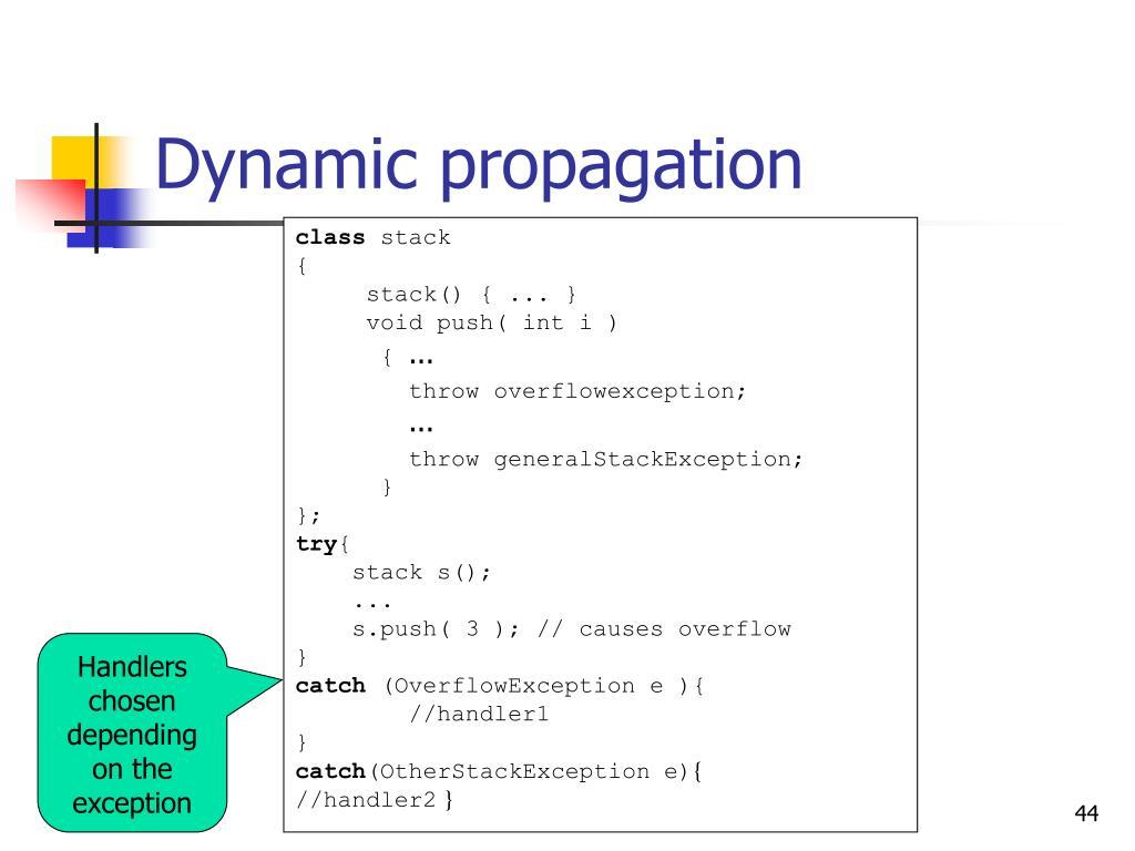 Dynamic propagation