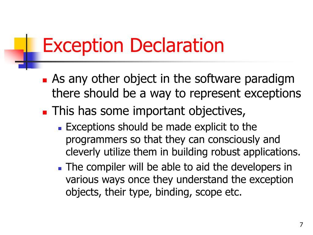Exception Declaration