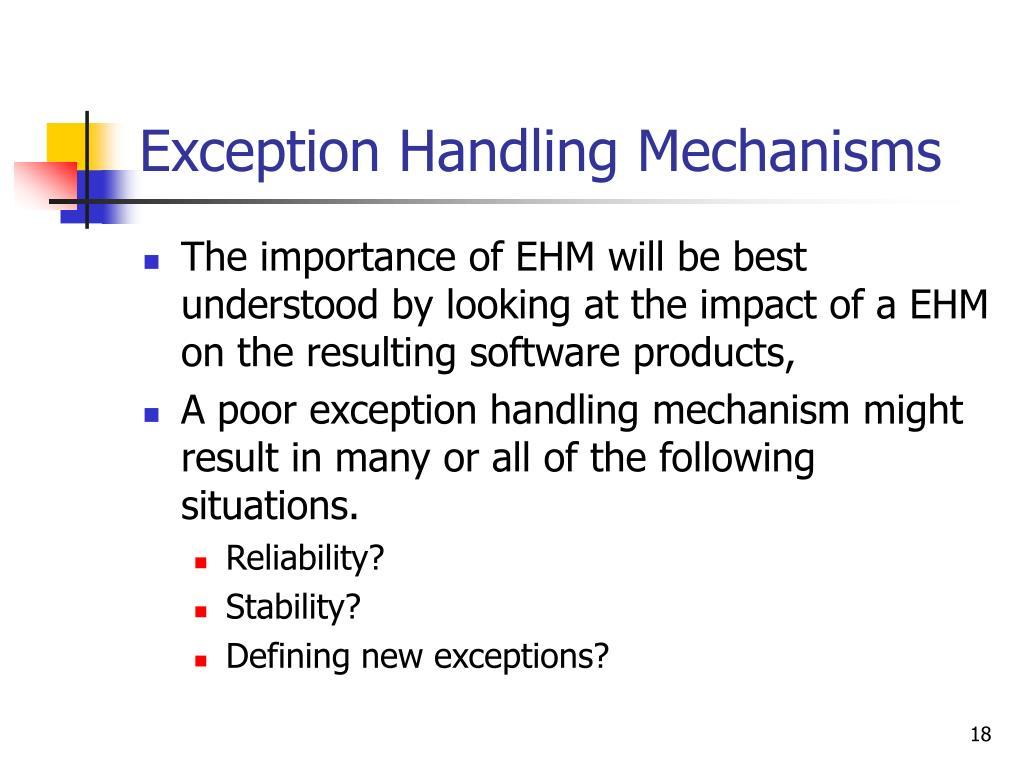 Exception Handling Mechanisms