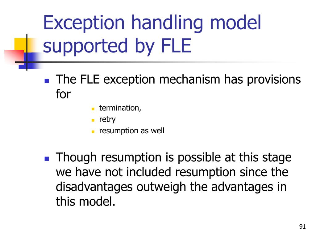 Exception handling model supported by FLE