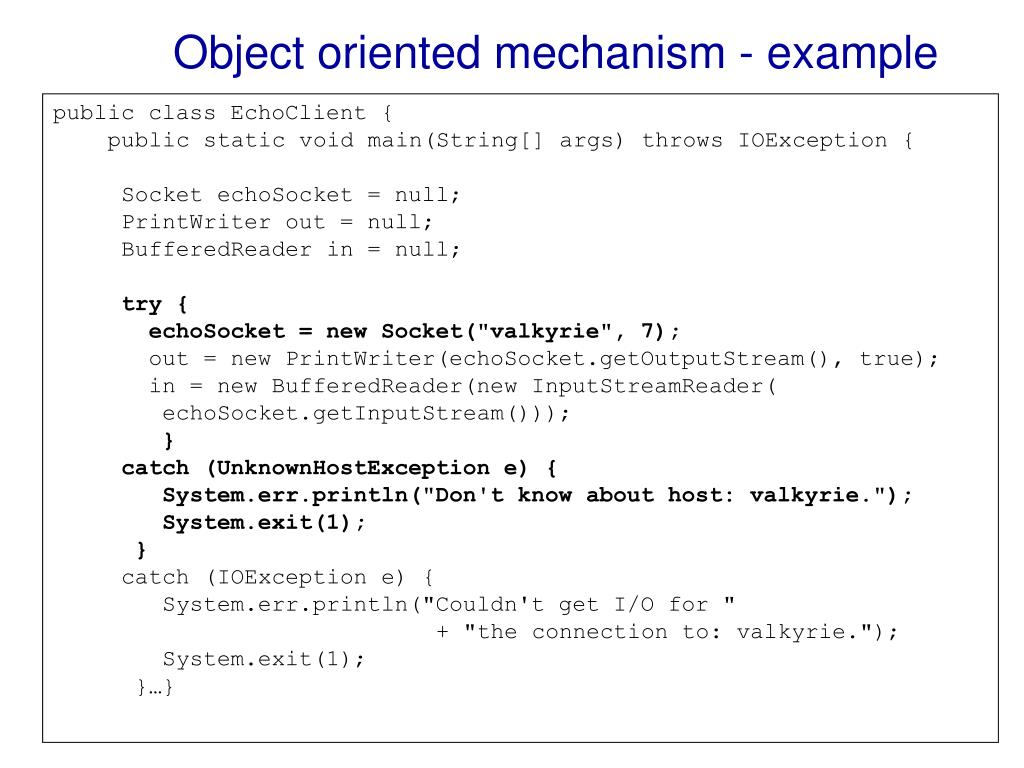 Object oriented mechanism - example