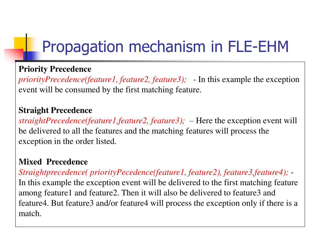 Propagation mechanism in FLE-EHM