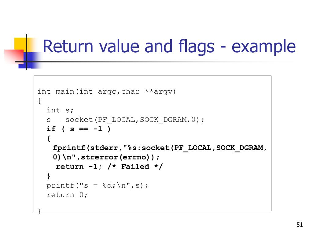 Return value and flags - example