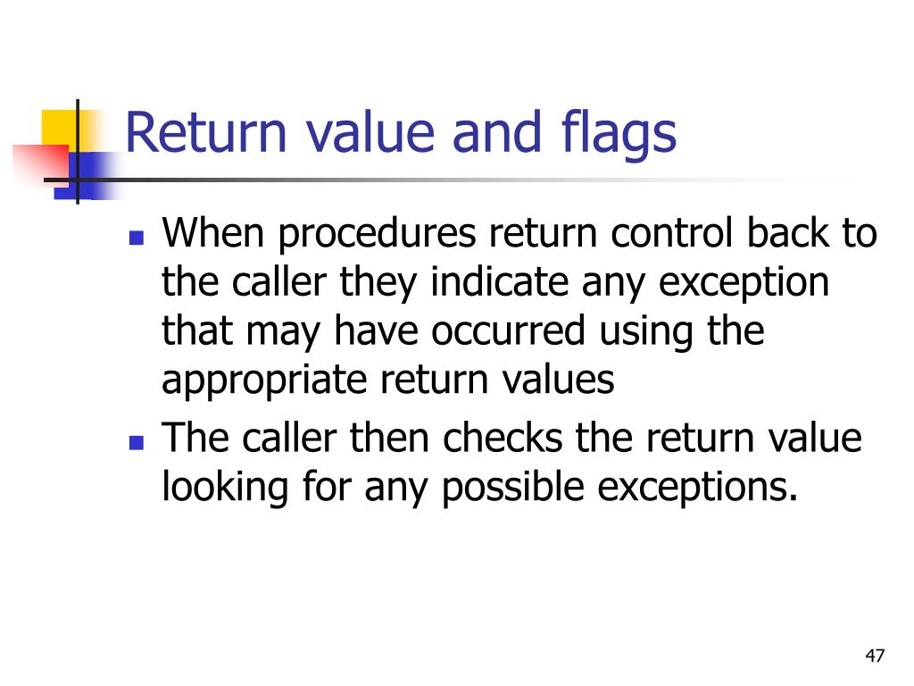 Return value and flags