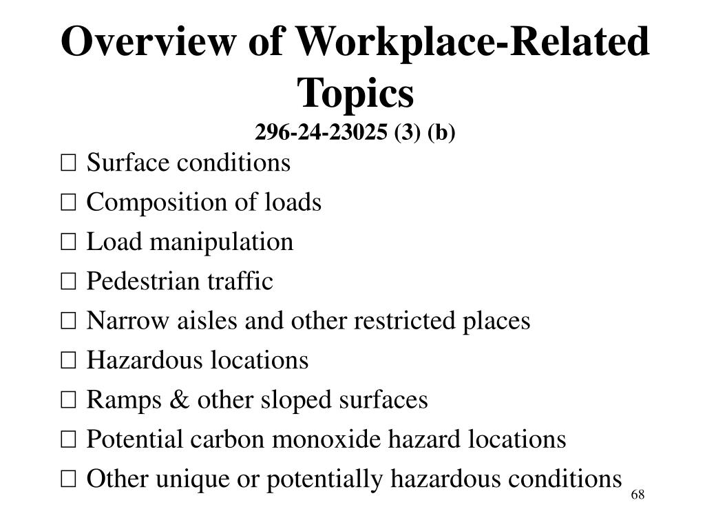 Overview of Workplace-Related Topics