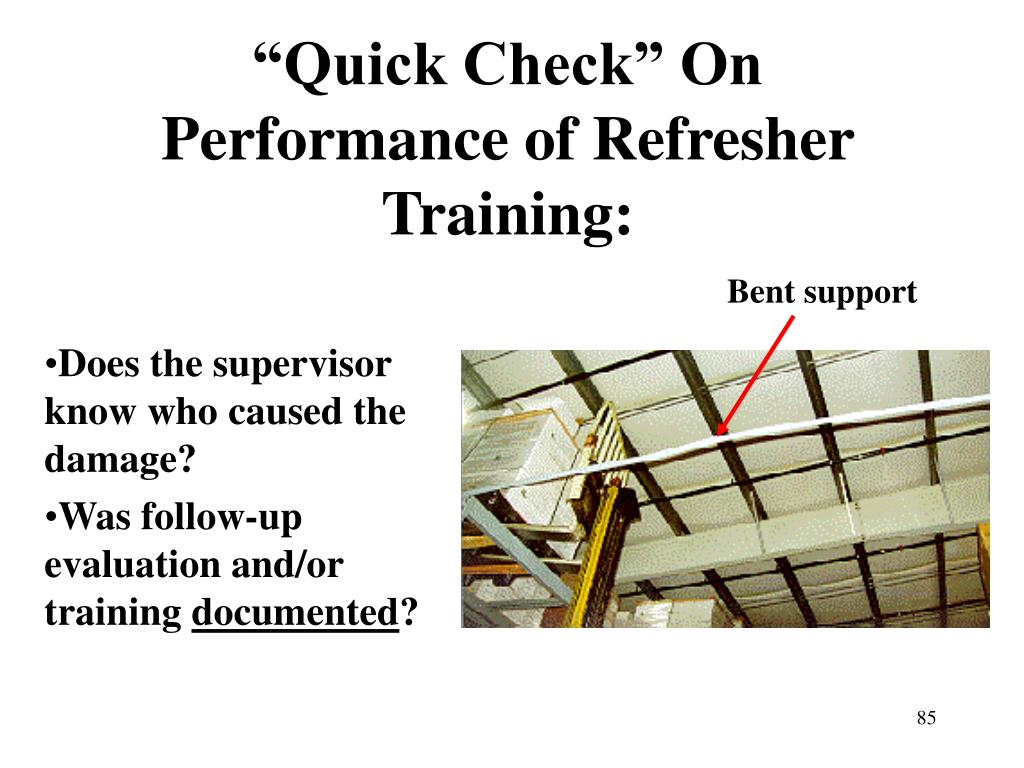 """Quick Check"" On Performance of Refresher Training:"