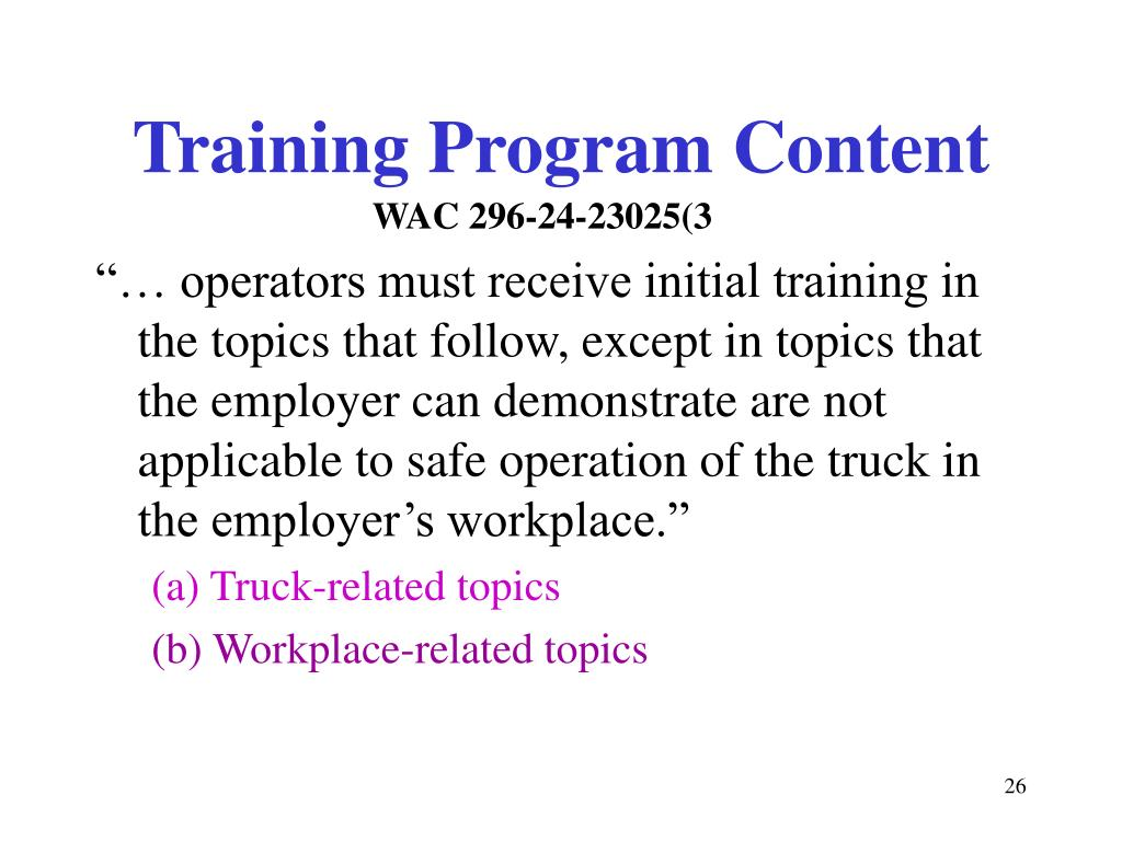 Training Program Content