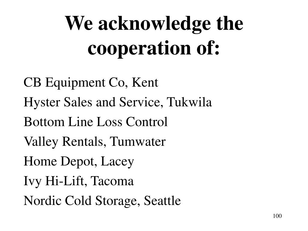 We acknowledge the cooperation of:
