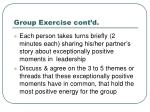 group exercise cont d