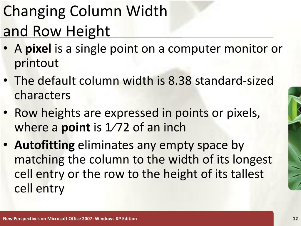 Changing Column Width