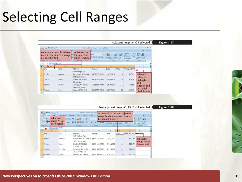 Selecting Cell Ranges