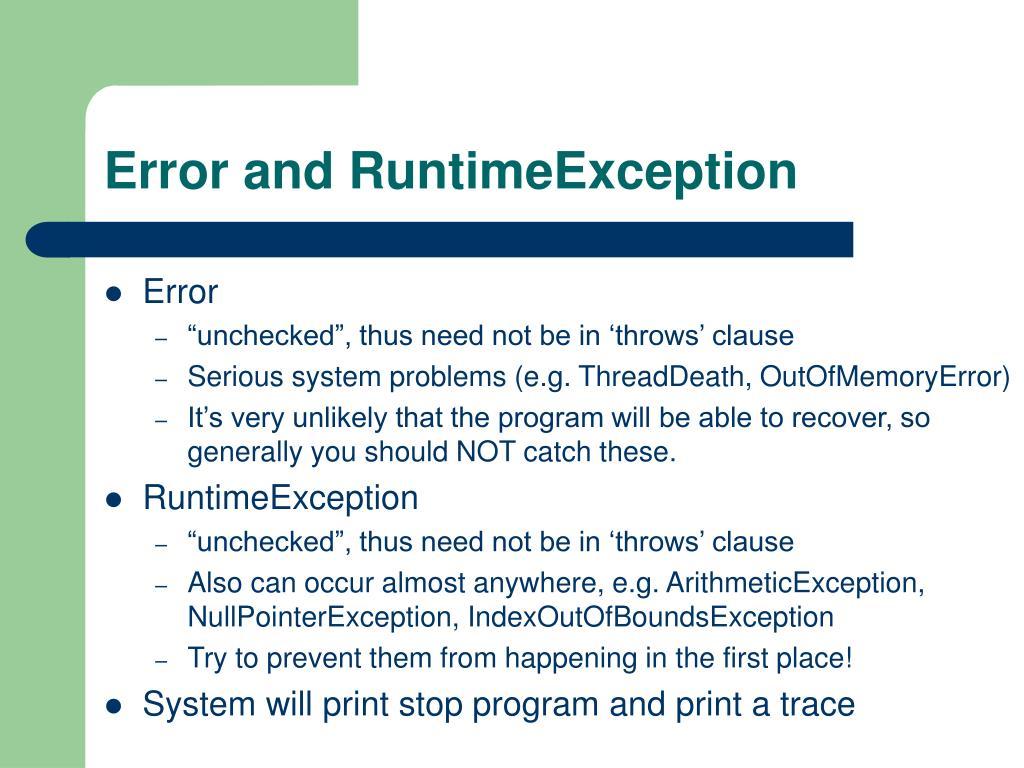 Error and RuntimeException