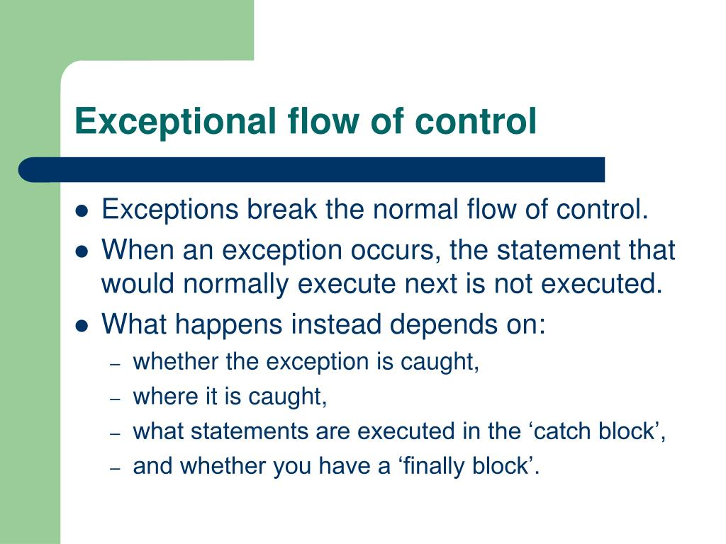 Exceptional flow of control