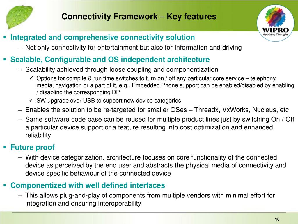 Connectivity Framework – Key features