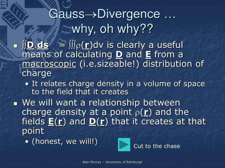 Gauss divergence why oh why