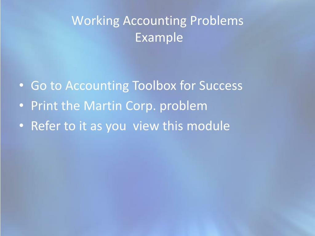 working accounting problems example l.