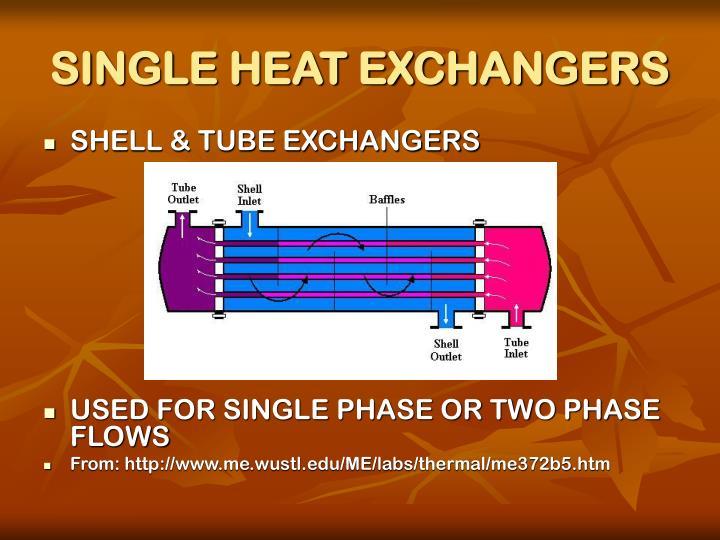 Single heat exchangers