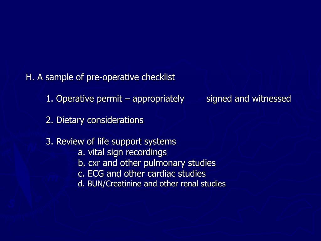 H. A sample of pre-operative checklist
