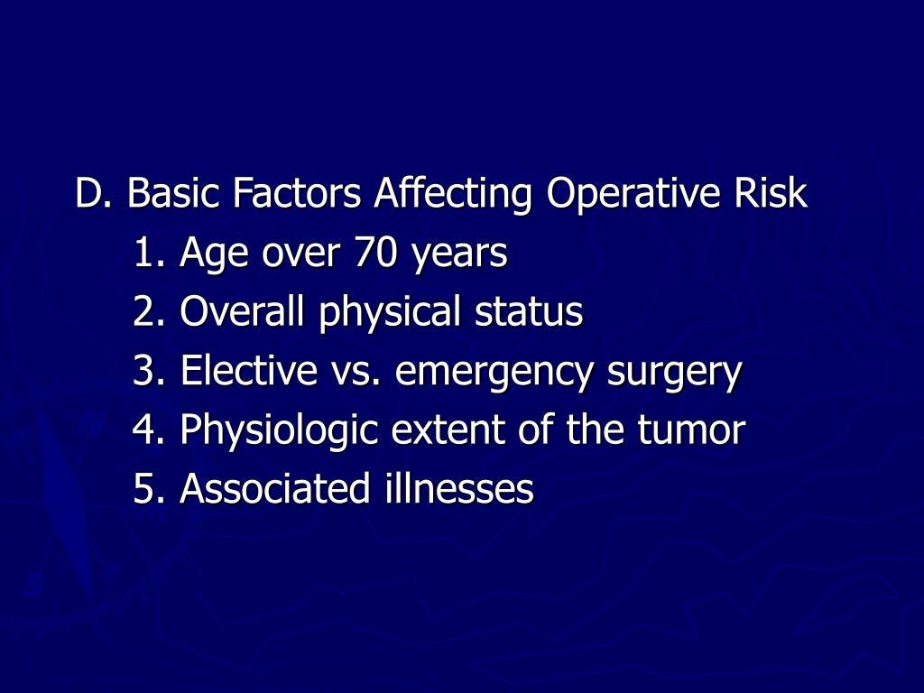 D. Basic Factors Affecting Operative Risk