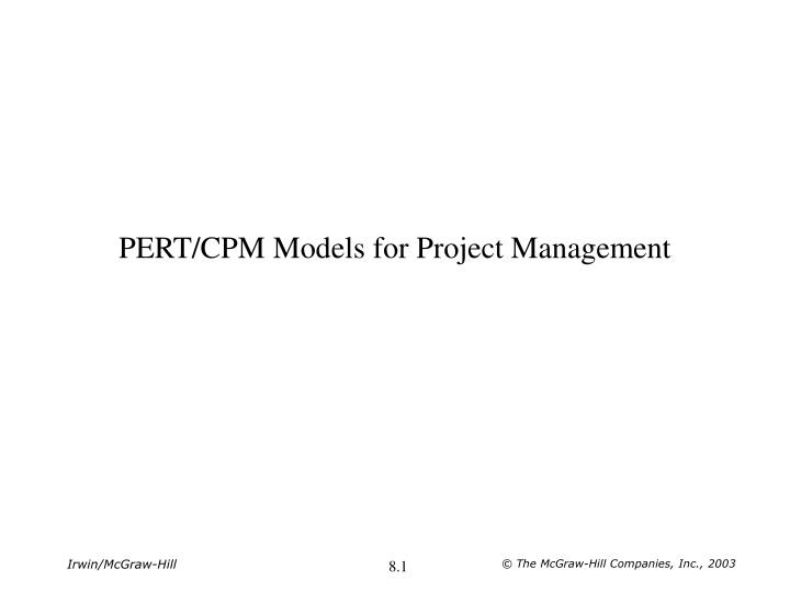 pert cpm models for project management n.