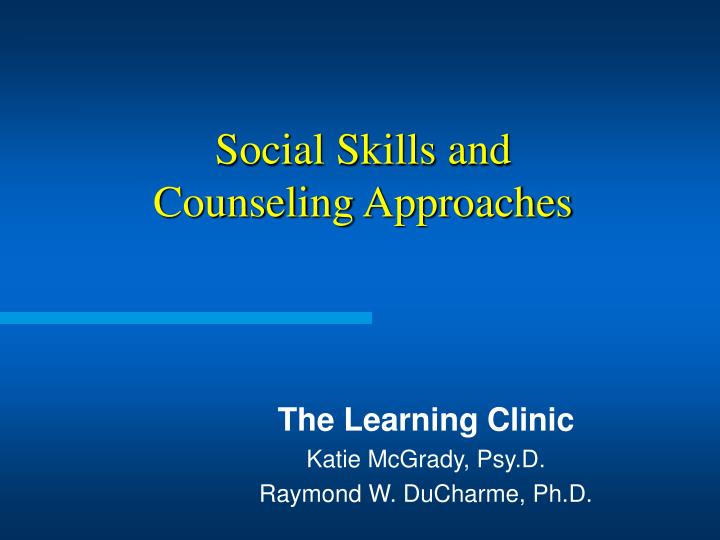 social skills and counseling approaches n.