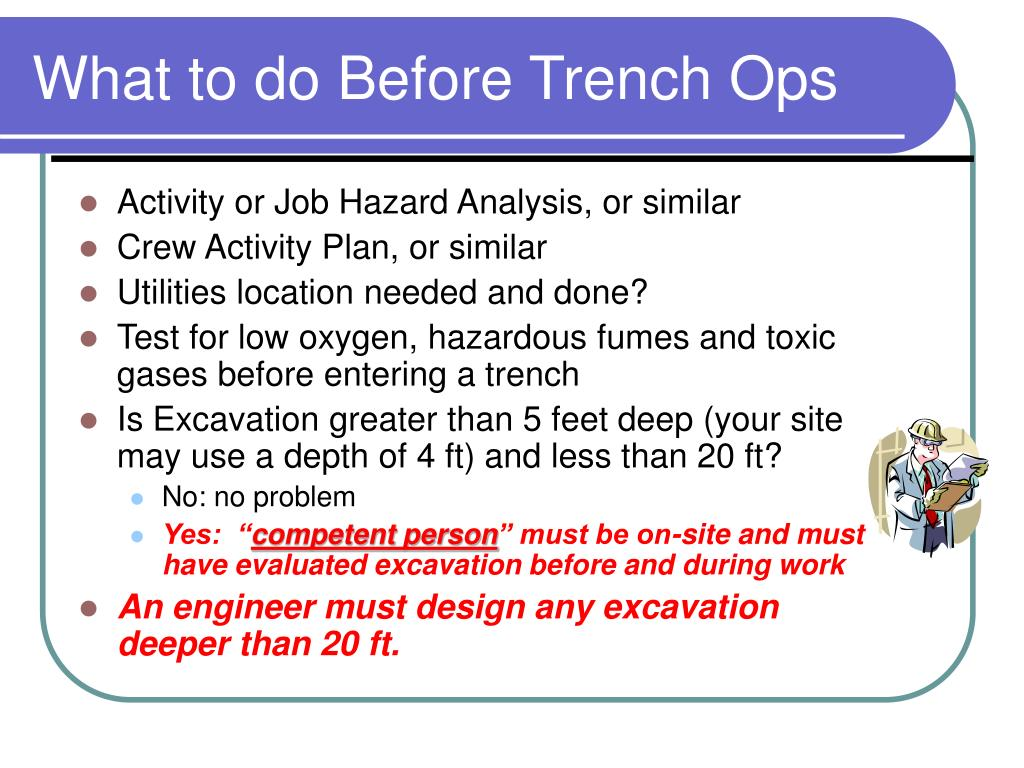 What to do Before Trench Ops