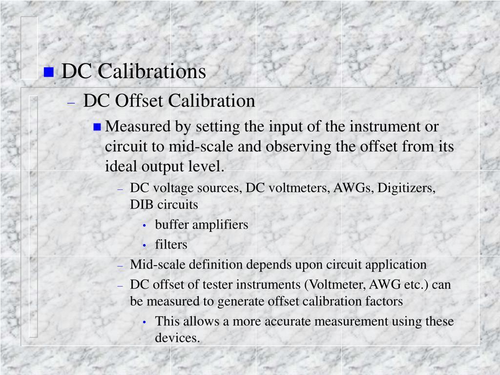 DC Calibrations