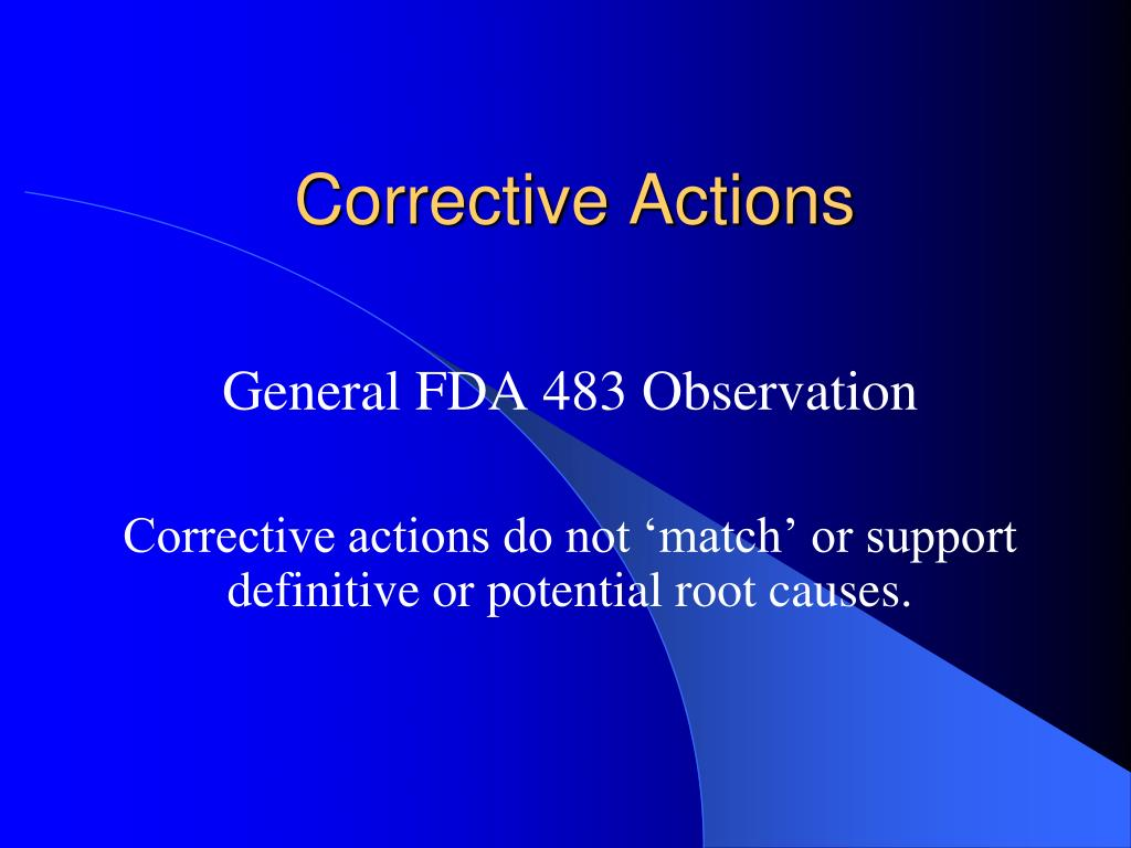 Corrective Actions
