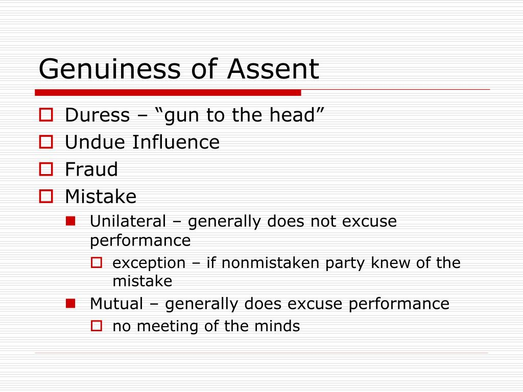 Genuiness of Assent