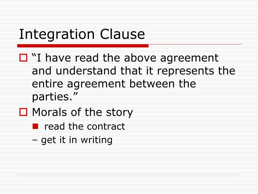 Integration Clause